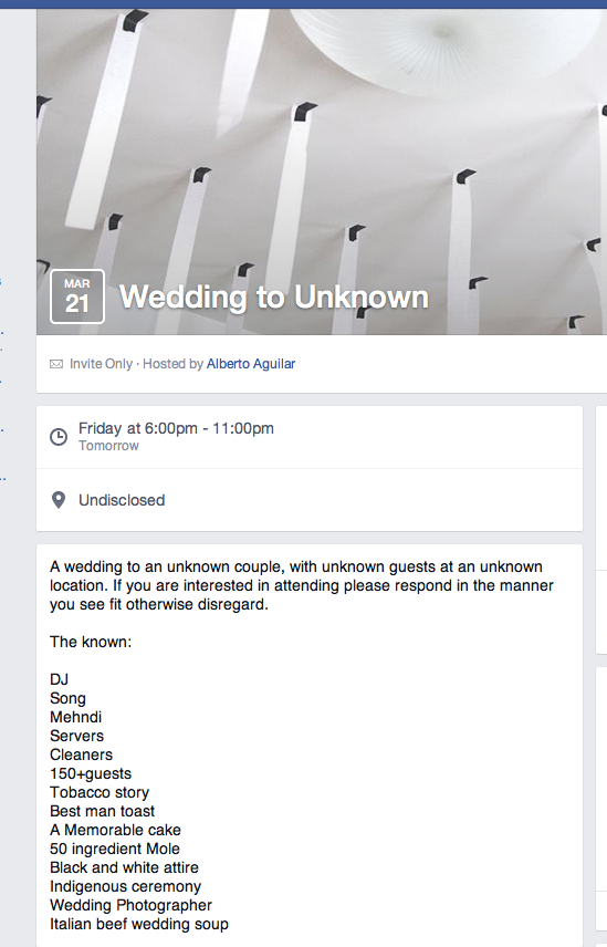 52 Wedding to Unknown, 2014